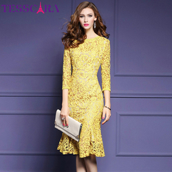 TESSCARA Women Autumn Elegant Lace Dress Female High Quality Event Party Retro Robe High Quality Celebrity-inspired Vestidos