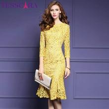 TESSCARA abito da donna elegante in pizzo autunnale abito da festa femminile di alta qualità abito retrò abiti di ispirazione alle celebrità di alta qualità