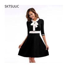 SKTSUUC 2019 Women Knitted Dress White Collar With Bow Half