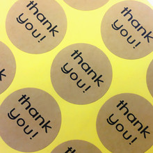 120pcs/pack Round Thank You Cowhide Color Gift Baking Packaging Decration Scrapbook Sealing Stickers