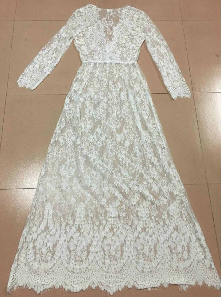 女性の夏のドレスディープ V ネックホワイトセクシーな長袖シースルーレースドレスヴィンテージプラスサイズドレス vestidos BLK0894