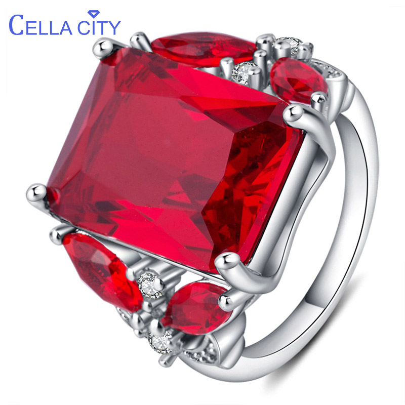 Cellacity Delicate Luxury Ruby Ring for Women Geometry Gemstones Silver 925 Jewelry Plant Butterfly Wedding Accessories Wholesal