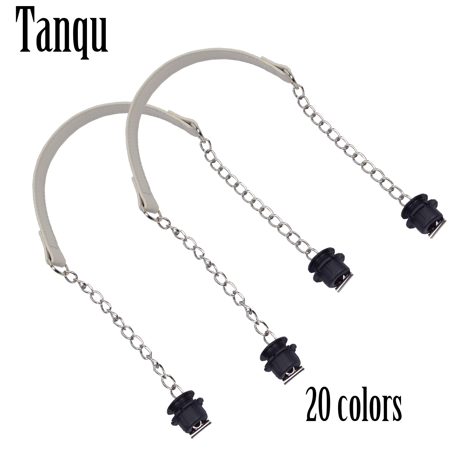 New Tanqu 1 Pair Silver Short Thick Single Chain With OT Metal Buckle Black Screws For Obag O Bag Handles For Women Bag Handbags