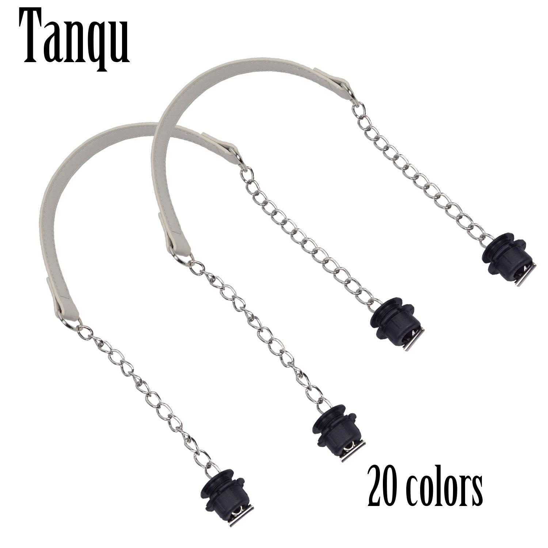 New Tanqu 1 Pair Silver Short Thick Single Chain With OT Metal Buckle Black Screws For Obag O Bag Handles For Women Bag Handbags