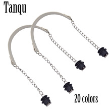 New Tanqu 1 Pair Silver Short Thick Single Chain with OT metal buckle Black screws for Obag O bag Handles for Women Bag Handbags 2019 tanqu new o bag moon body with waterproof inner pocket long chain handle for women bag o moon classic obag