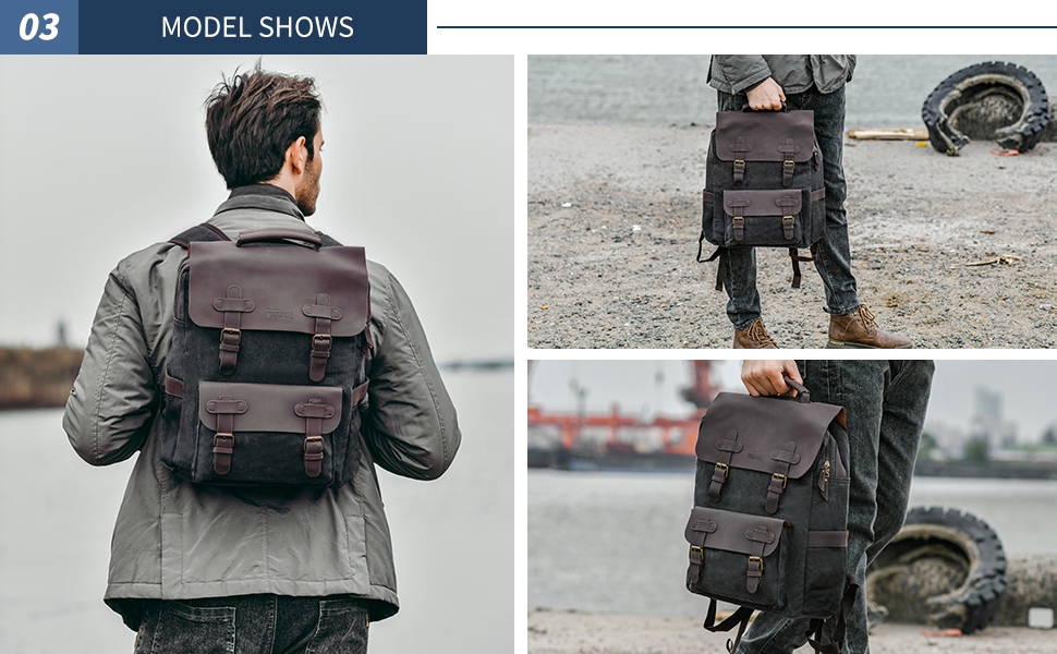Men's Backpack Vintage Canvas Backpack School Bag Men's Travel Bags Large Capacity Backpack Laptop Bag