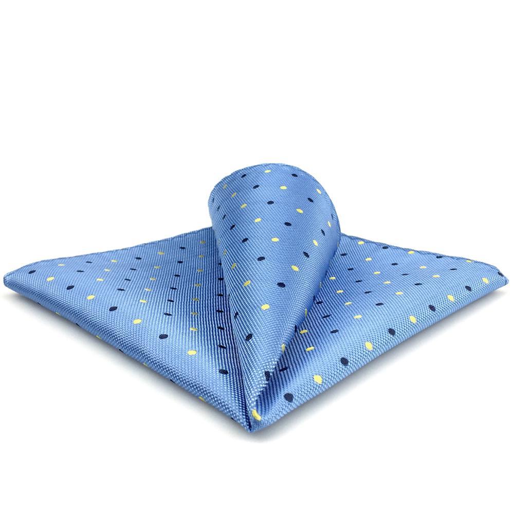 FH21 Light Blue Pocket Square Dots Handkerchief Business Gift Silk
