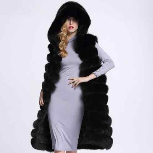 Sıcak 2019 Kalınlaşmak Kış Kürklü Ceket kürk başlık Sahte Vizon Fox Kürk Yelek Ceket Feminino Uzun boy Bayanlar Yelekler WR741
