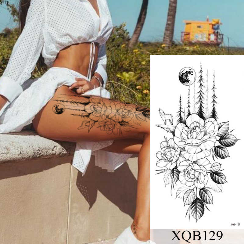 กันน้ำชั่วคราวTATTOOสติกเกอร์ดอกไม้RoseแฟลชรอยสักLalashรอยสักงูLion Body Artแขนเสื้อปลอมTatooผู้หญิง