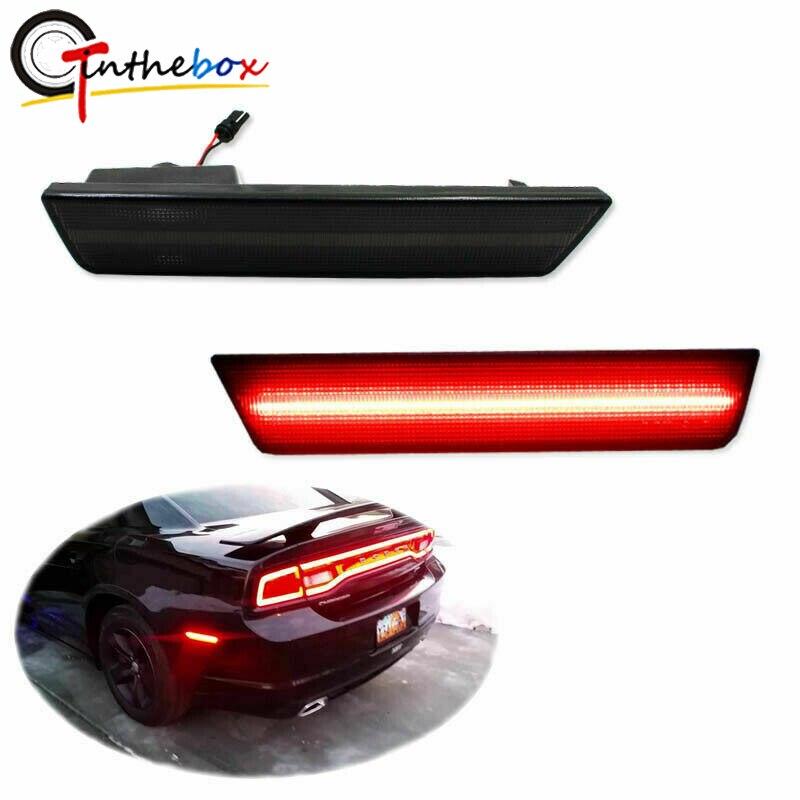 GTinthebox lentille fumée LED feux de position latéraux arrière feux de LED rouges pour Dodge Challenger 2008-2014, chargeur Dodge 2011-2014