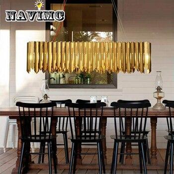 Luminaire moderne lustre éclairage salle à manger longue lampe ovale décoration de la maison comprennent des Bulds LED