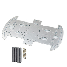 Cheapest Aluminum Alloy Silver Smart Car Chassis 4wd 4-Wheel Car Bottom Plate for TT Motor DIY STEM Toy Parts Free Couplings