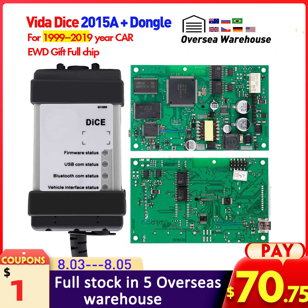 Vida Dice 2015A + Dongle For Volvo Car from 1999-2019 diagnostic Tool Vida Dice Full Chip Green Board OBD2 Car Scanner For volvo