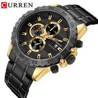 CURREN Black Quartz Wristwatch Stainless Steel Waterproof Golden Mens Watches Calendar Dial Luxury Brand Business Dress Clock