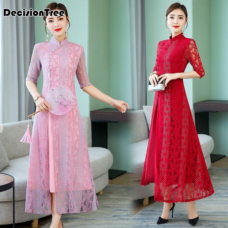 2019 Vintage Casual Retro Cheongsam Ao Dai Women Vietnam Dress Hollow Carved Lace Robe Mandarin Collar Chinese Dress Oriental