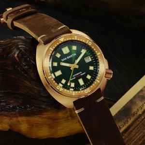 Image 2 - San Martin New Bronze Tuna 6105 diving watches 200m Water Resistant Shark leather strap men automatic wrist watches for male Men