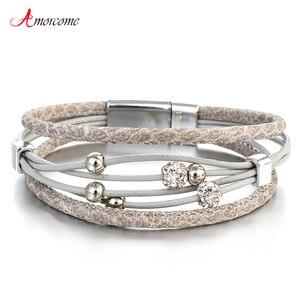 Amorcome Bead Genuine Leather Fashion Bracelets Woman 2019 Bohemian Multilayer Wrap Boho Bracelet & Bangles femme Jewelry