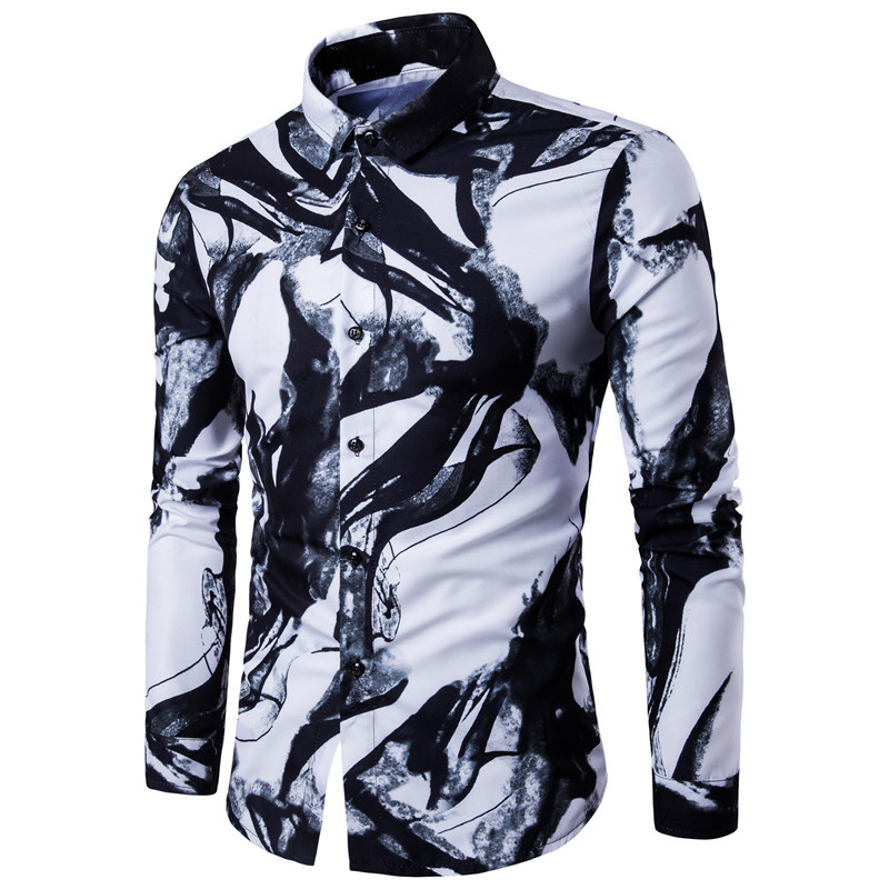 2017 Spring And Summer Western Style Plus-sized Shirt Men Digital Printing Ink Long-sleeved Shirt Fashion Casual