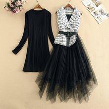 Комплект из двух предметов: черная блузка с длинным рукавом