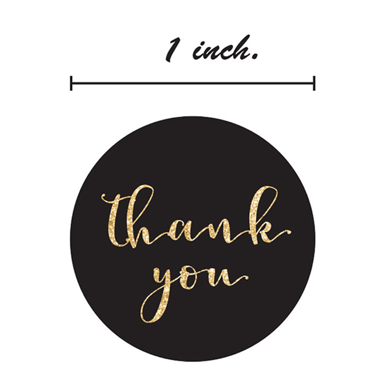 500pcs/roll Gold Foil Thank You Stickers for seal labels 1 inch gift Packaging Stickers Birthday Party offer stationery sticker 2
