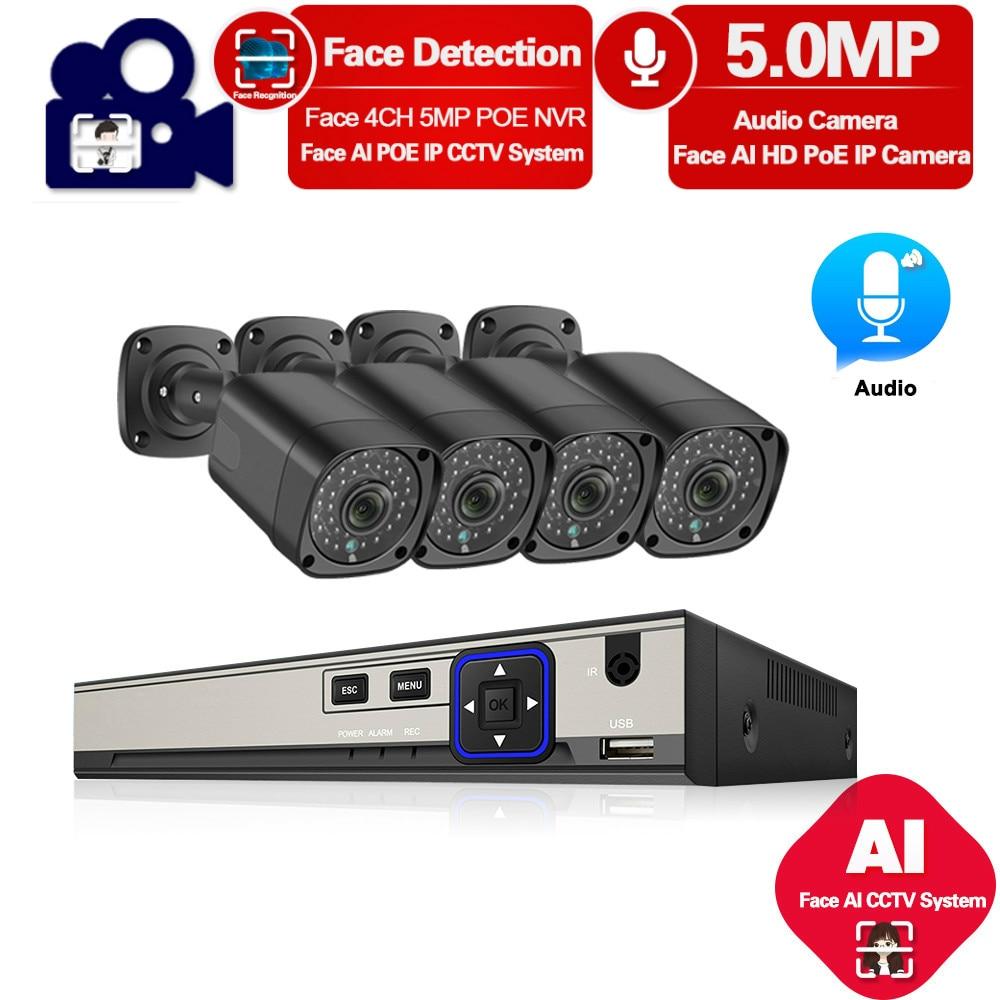 H.265 4CH 5MP POE CCTV sistema de seguridad NVR Kit 5MP 1/3