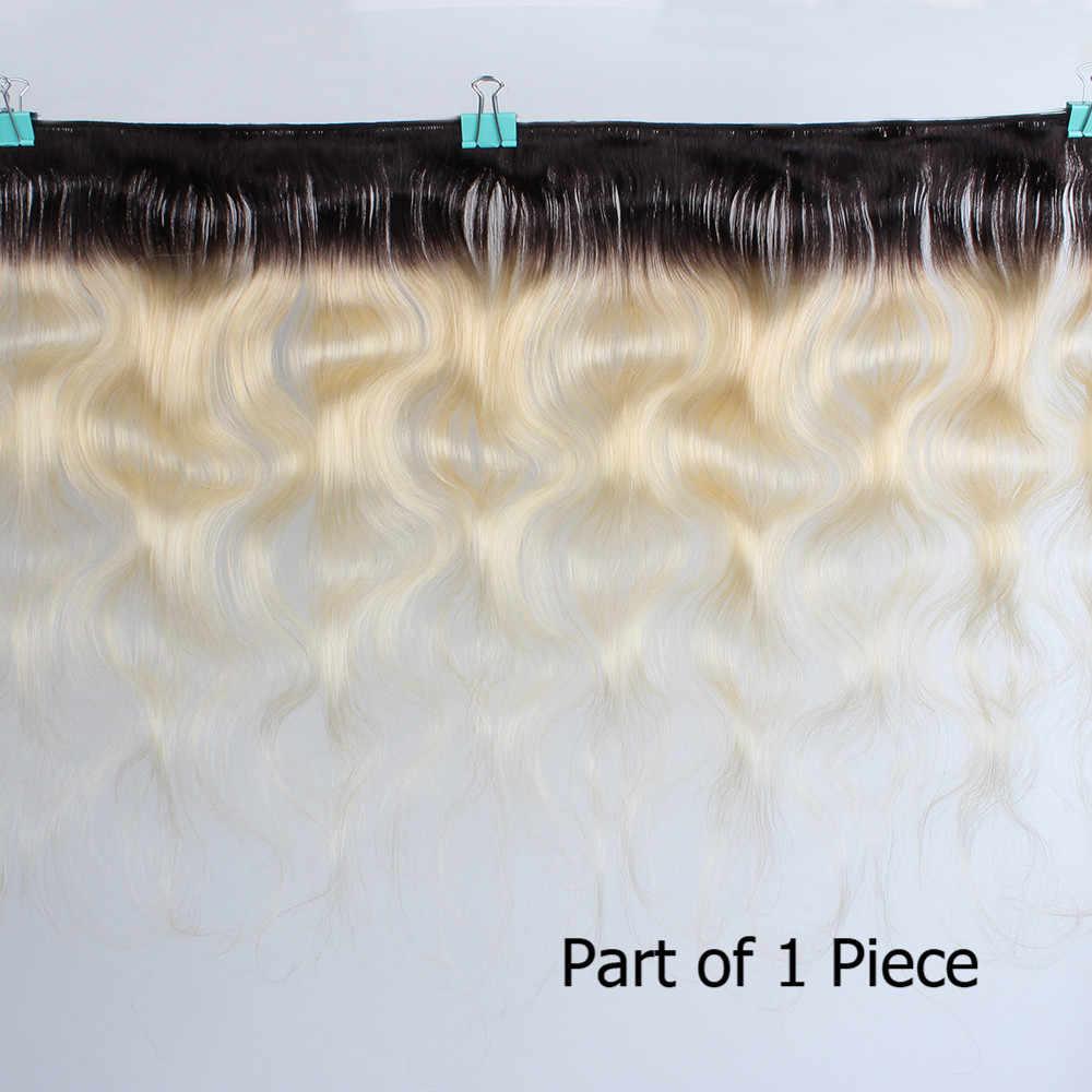 Bobbi Collection raíz oscura rubia platino 1B 613 mechones con Frontal brasileño de la onda del cuerpo armadura del pelo humano de Remy 2/3 mechones