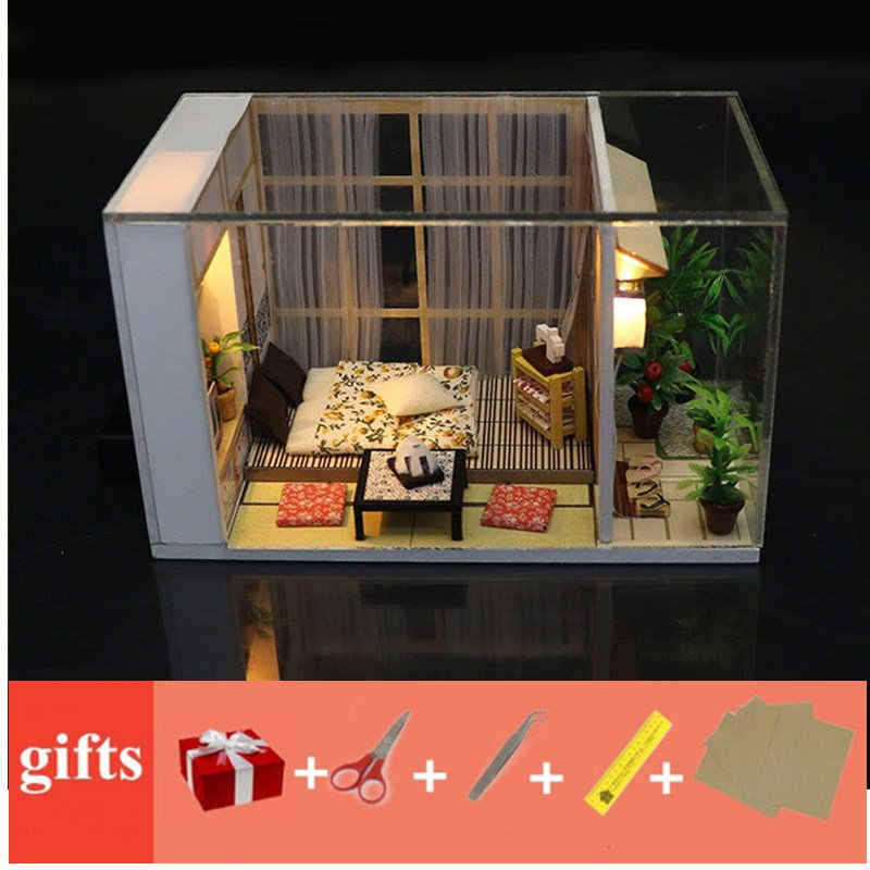 มินิตุ๊กตาตุ๊กตามินิตุ๊กตาฟรีฝุ่น LED Light MINI poppenhuis DIY ตุ๊กตาไม้ขนาดเล็กสวน Kit บ้านไม้ของเล่นสำหรับเด็ก