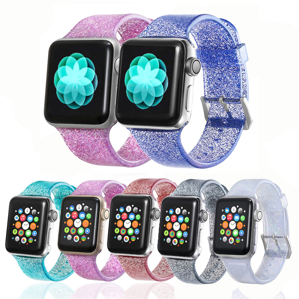 New Transparent Glitter Silicone For Apple Watch  Band 4 3 5 Correa Iwatch Band 42mm 38mm 44mm 40mm Pulseira Bracelet Nato Strap