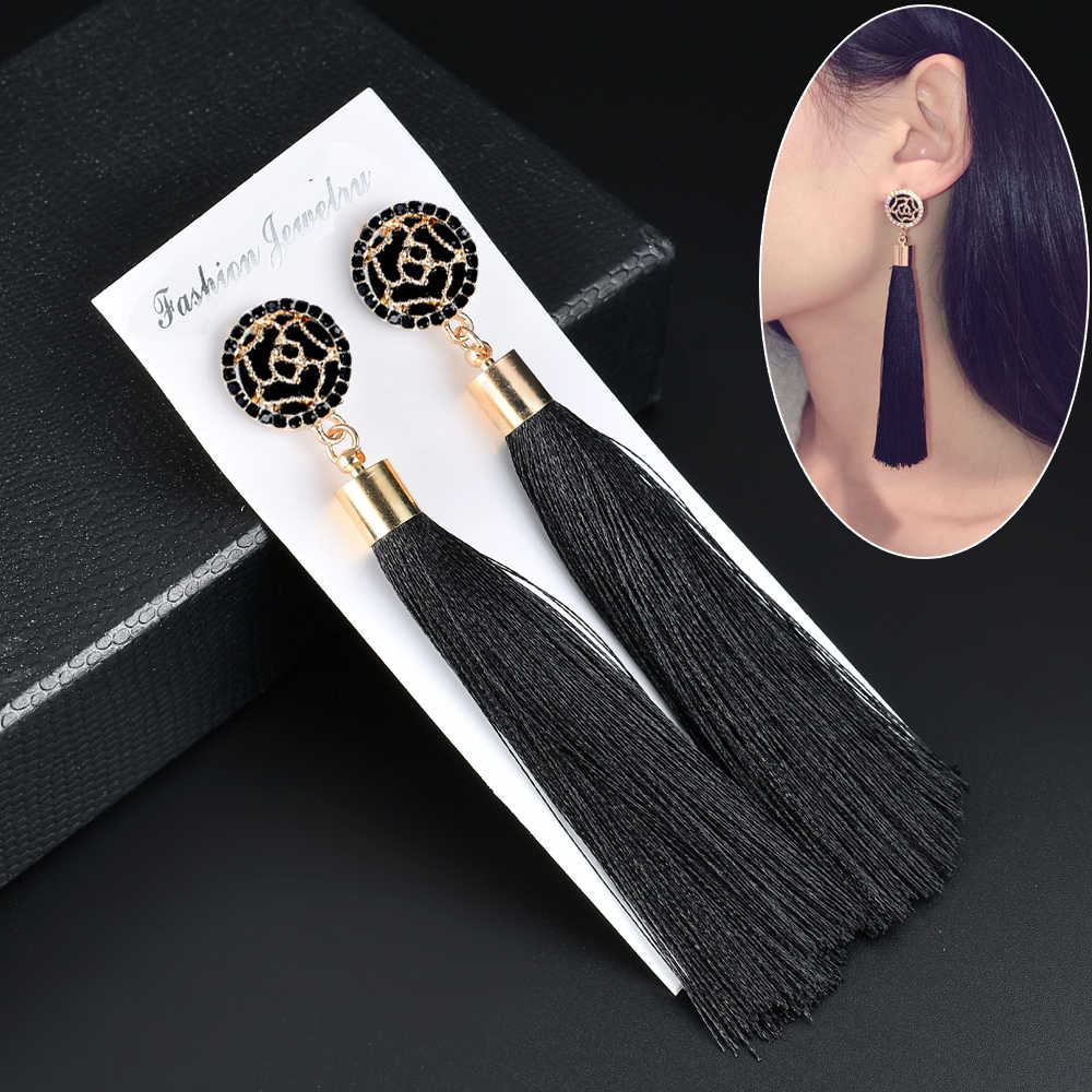 Black Crystal Flower Fringe Earings Earing Geometric Long Dangle Tassel Earrings For Women 2019 Fashion Jewelry Oorbellen Gift