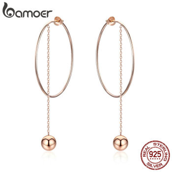 BAMOER Popular 100% 925 Sterling Silver Big Circle Round Long Chain Drop Earrings for Women Rock Style Jewelry SCE569 - discount item  50% OFF Fine Jewelry