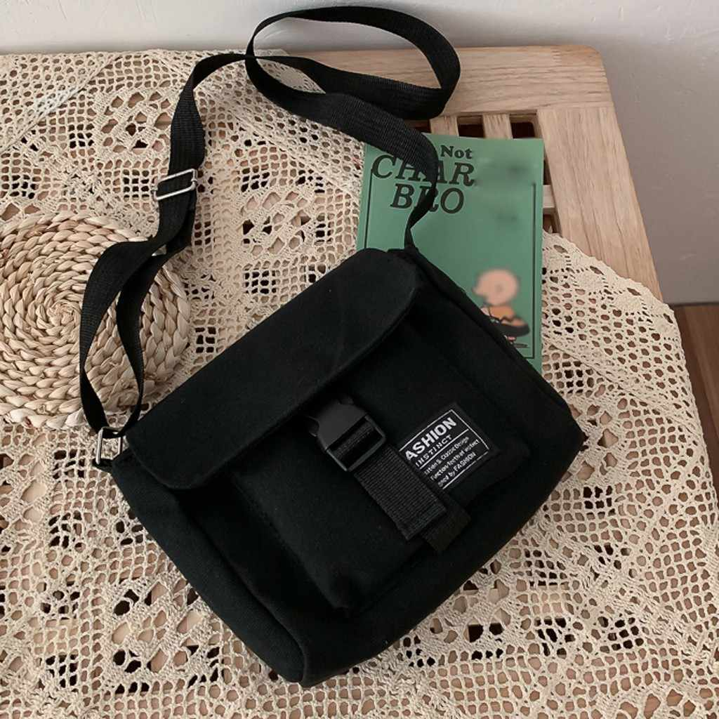 여성 캔버스 가방 조커 귀여운 메신저 가방 쇼핑 가방 단색 대용량 어깨 가방 광장 가방