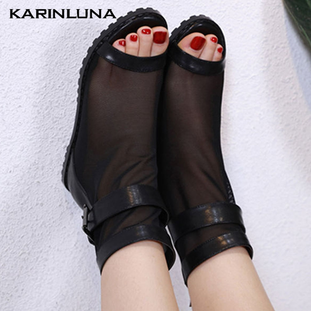 Karinluna 2020 Dropship Leisure Inside Wedges Shoes Med Heel Air Mesh Summer Boots Women Sandals Female Ankle Boots