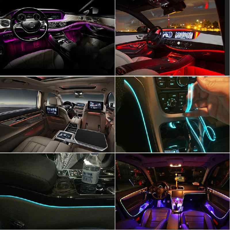 Rgb ledストリップ周囲光のapp bluetooth車のインテリア雰囲気ライトランプ 8 色diy音楽 8 メートル繊維光バンド