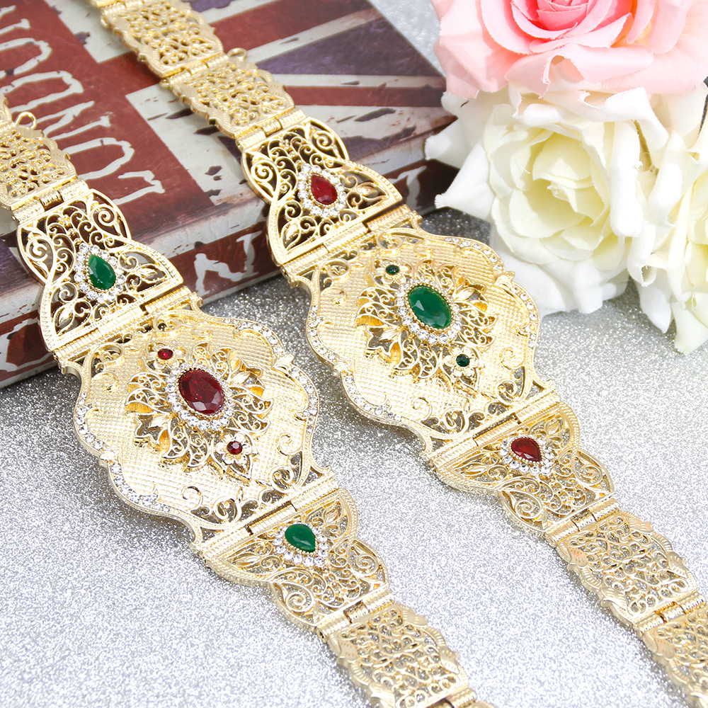SUNSPICE-MS Morocco Women Waist Chain Belt Gold Color With Red Green Crystal Caucasus Ethnic Wedding Metal Caftan Jewelry