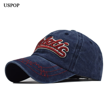 USPOP 2019 Unisex washable baseball caps Large letter embroidered visor cap Stereo cotton hat