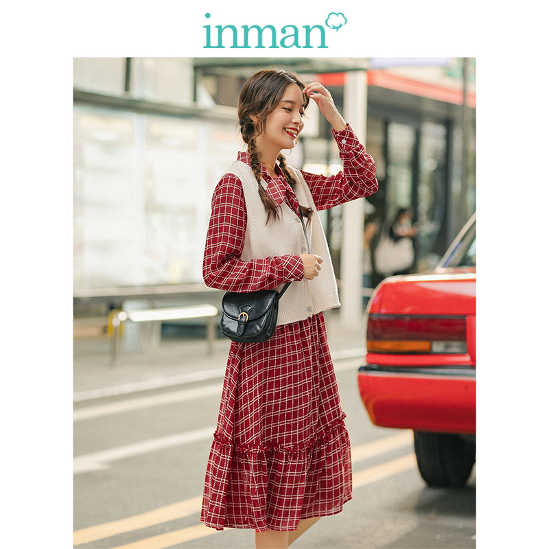 INMAN Spring Autumn Lacing Collar Plaid Dress With Solid Vest Retro Literary Women Two Pieces Suit
