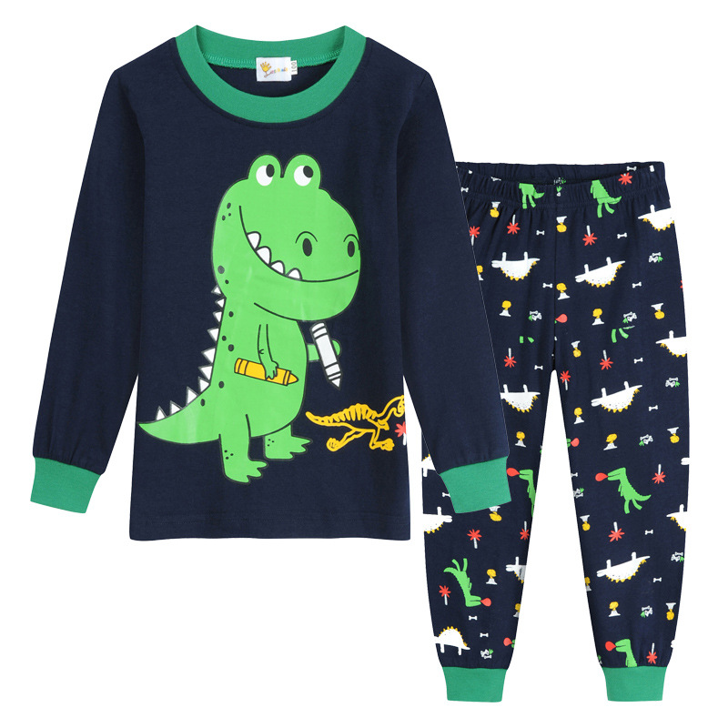 Boy's Home Service Suit Underwear Cartoon Autumn Clothes Long-Sleeved Trousers Children's Nightclothes Indoor Cotton Sleepwear