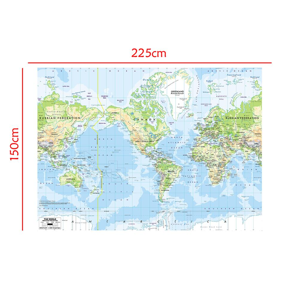 The World Map Mercator Projection 150x225cm Vinyl Spray Painting Map Without National Flag