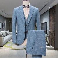 Mens Suits (Jacket+Pants+vest) Design Blue Linen Suit Slim Fit Wedding Casual Summer Beach Groom Best Man Blazer Terno Masculino