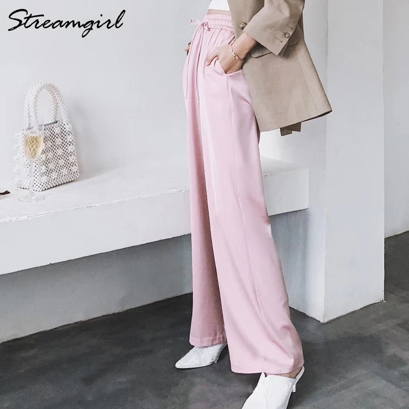 Streamgirl Summer Wide Leg Pants For Women Trousers High Waist Satin Wide Pant 2020 Casual Red Women Summer Pants Formal Woman
