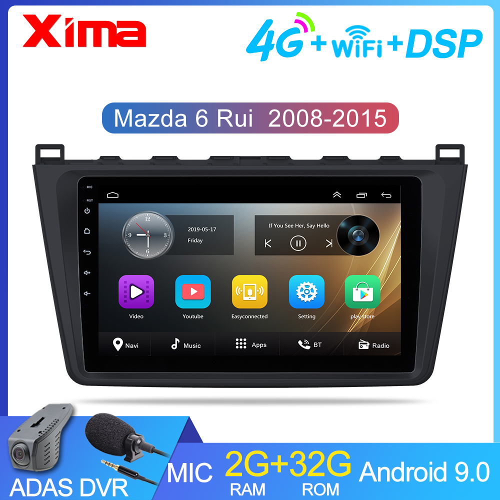 2G + 32G 2 din Android 9.0 Car Radio for <font><b>Mazda</b></font> <font><b>6</b></font> Rui wing 2008 2009 <font><b>2010</b></font> 2011 2012-2014 Wifi Radio Audio GPS Multimedia Playe image