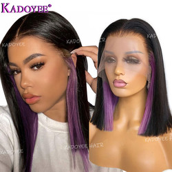 1B Purple Bob Wig Human Hair Ear Hidden Glam Highlight Wig Straight Colored Short Wigs For Women Brazilian Remy T Part Lace Wig