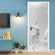 цена на 3D creative Cartoon snowman door stickers wall stickers self-adhesive waterproof removable
