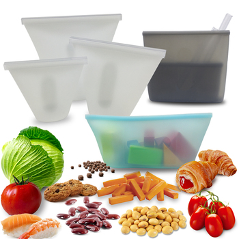 Lunch Box Dinnerware Sets Reusable Silicone Food Bag Fresh Leakproof Sealed Bags Food Container Portable Sandwich Meal Bento Box 1