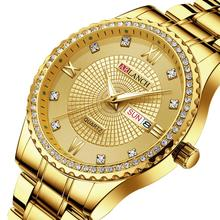 Big Diamond Top Brand Luxury Gold Watch Men Stainless Steel Mens Wristwatch President Male Clock