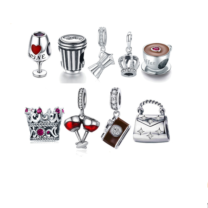 BISAER 100% 925 Sterling Silver World Travel Camera Coffee Cup Car Beads Fit Original Charm Bracelet Silver 925 Jewelry Gift image