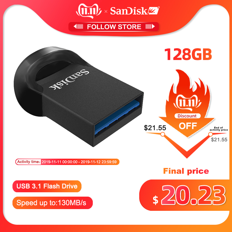 SanDisk USB 3.1 Flash Drive CZ430 Ultra Super Mini Pen Drive 16GB 32GB 64GB 128GB Memory Stick Up To 130MB/s High Speed Pendrive