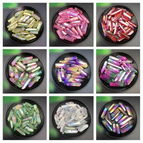 50g Electroplated Red Titanium Rainbow Aura Lemurian Quartz Crystal Point Healing Stones Decor Natural Stones And Minerals