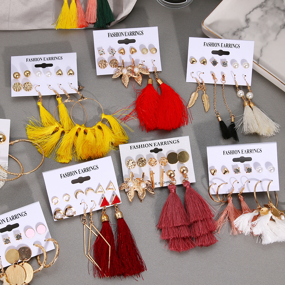 17 Design Fashion Long Tassel Stud Earrings Set For Women Girl 2018 Bohemian Geometric Earring Christmas Brincos Female Jewelry image