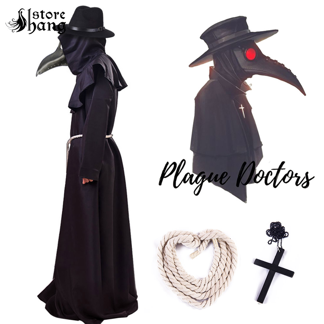 Plague Doctor Cosplay Costume Steampunk Medieval Hooded Robe Beak Hat Dr Plague Role Play Outift Adult Halloween Fancy Dress